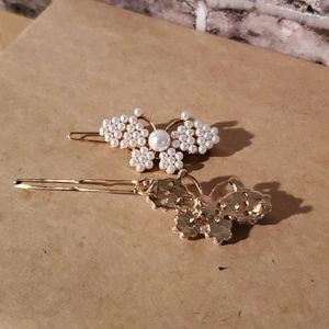 3/$20 Set Of 2 Pearl Butterfly Hair Clips